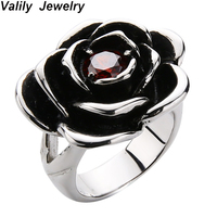 Valily Women 925 sterling silver Rose flower shape Rings Fashion Wedding Engagement Rings Jewelry for Female Men Love Ring Gift
