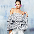 2017 Fashion Women Blouse Flare Sleeve Slash Neck Striped shirt Strapless Off Shoulder Ruffles Feminine Blouses Ladies Tops E552