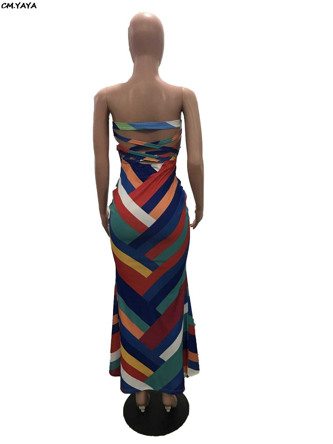 2019 new women colorful stripes strapless bodycon mermaid maxi midi dress beach party club long dresses beach outfit H6049