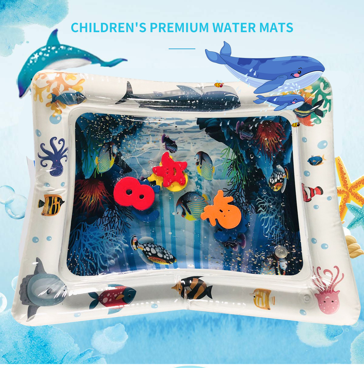 Image 2 - Baby Inflatable Water Play Mat Infant Summer Beach Water Mat Toddler Fun Activity Play Toys for Sensory Stimulation Motor Skills-in Play Mats from Toys & Hobbies