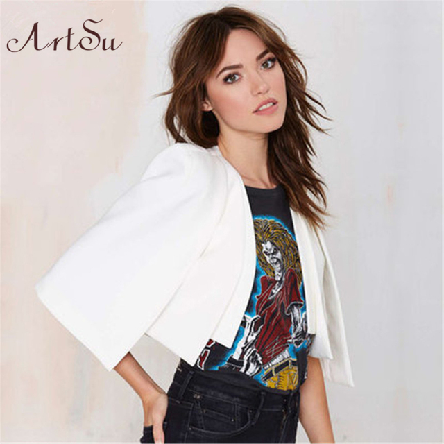 ArtSu Free Shipping 2017 Black White Short Cloak Cape Blazer Jacket Brief Spring Autumn Suit Jacket Blazer Coat Female BZ1012
