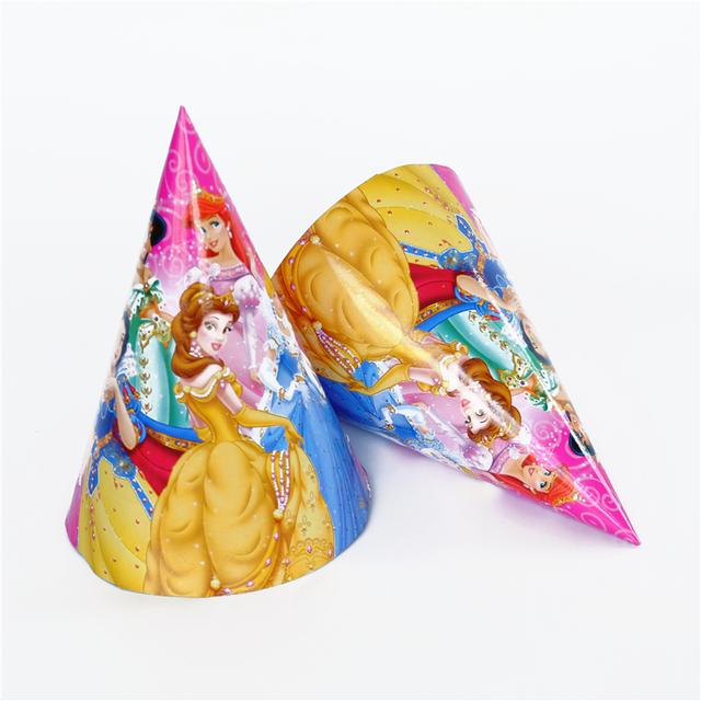 65eebe93b5d 6pcs lot paper hat princess Snow white Cinderella Ariel Kids Birthday party  supply event party supplies party Decoration Set
