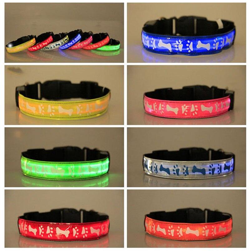 Nylon LED Pet Dog Collar Bone Printing Collar Night Flashing Glow Collars Necklace Luminous Dog Supplies 7 Colors Size S M L XL