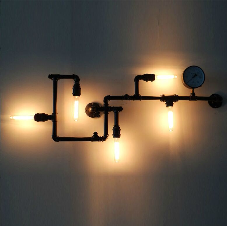 Water Pipe Wall Lamp Loft Vintage Industrial Edison Bulb Wall ...