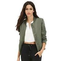 Vestuário de Inverno Parkas Mulheres Jaqueta Bomber Básico Legal Exército Verde Para Baixo Casaco Jaqueta Acolchoada Com Zíper Motociclista Chaquetas Outwear