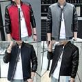Spring Letterman Fashion Bomber Varsity Coat Raglan Leather Sleeve College Baseball Jacket Men Black Grey Red Navy Blue