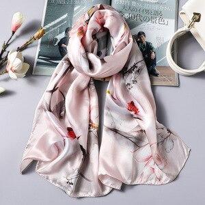 Image 3 - DANKEYISI Delle Donne di Seta Lunga Sciarpa Scialle Femminile Delle Donne di Alta Qualità 100% Pura Seta Sciarpe Wraps Lady Foulard Hijab Sciarpe