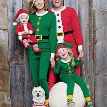 Рождественский семейный комплект спальной одежды для детей и взрослых с рисунком Санта-Клауса комплект ночной спальной одежды с длинным рукавом в стиле косплей год