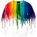 2016 New Women's Suit Rainbow 3D Print Tracksuits Pigment Watercolor Crewneck Funny Hoodies Men Coat brand Harajuku Tops Moleton