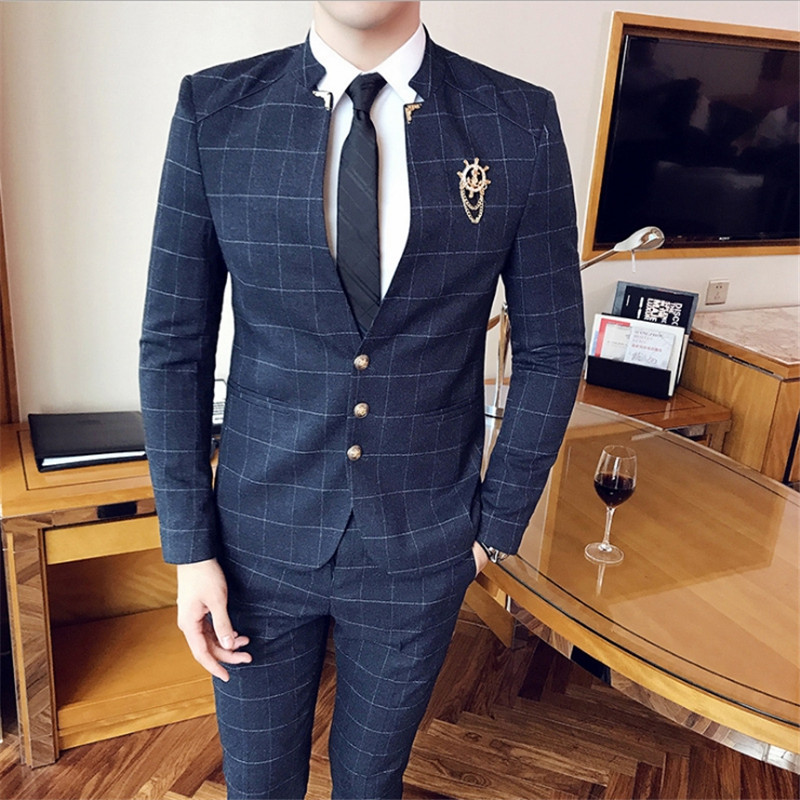 Male Smart Casual Spring Autumn new Korean Slim Men's Trousers suit fashion hair stylist young bridegroom wedding dress + pants