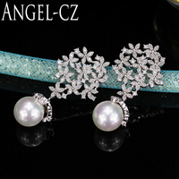 ANGELCZ Delicate Cluster Flower Cubic Zirconia Large Wedding Pearl Drop Earrings Jewelry With 925 Sterling Silver