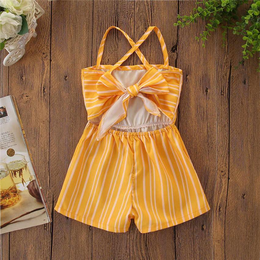 Летние детские штаны с наплечниками для маленьких девочек полосатый комбинезон, комбинезон для детей от 1 до 7 лет