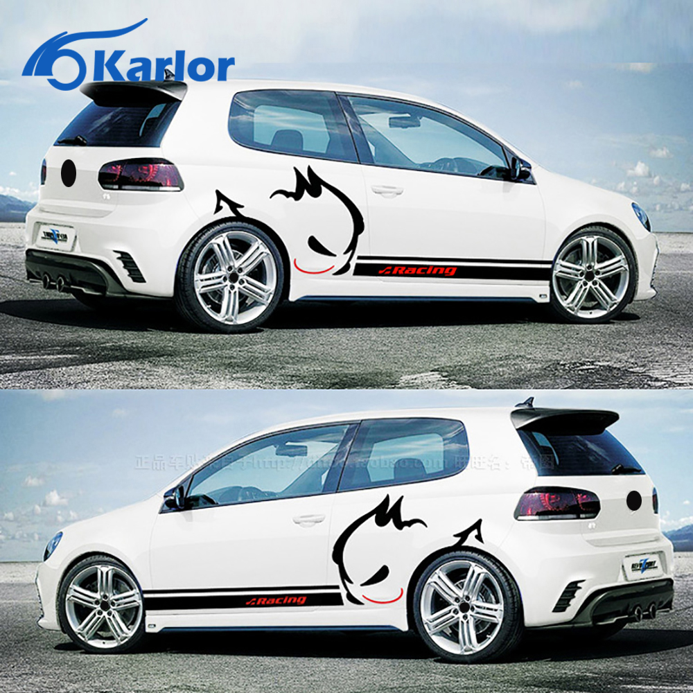 Car full body sticker design - 2pcs Set Car Styling Evil Rabbit Car Whole Body Sticker Racing Car Stickers And Decals