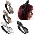 4Pcs/lot  Fashion Handmade Solid Sewn Leather Bow Hairband Women Adult Wide Teeth Hard Headband Hair Accessories