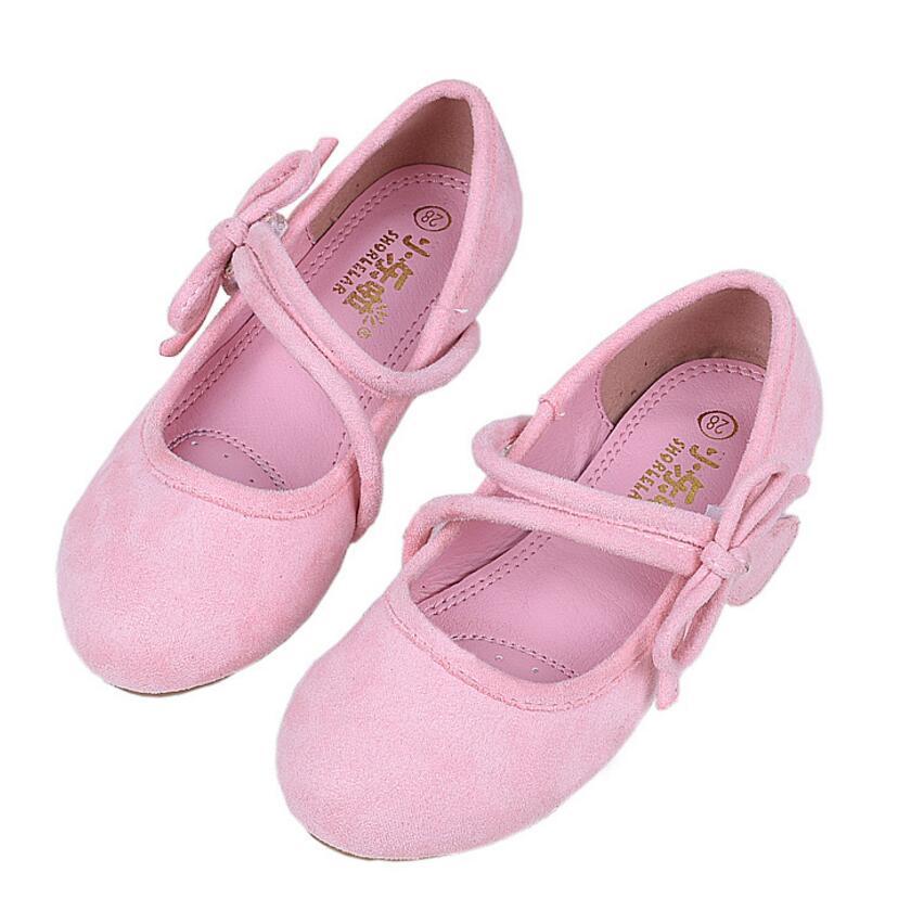Ballet Dance Shoes Girls Flats Princess Practice Shoes Children Dress Bow Knot Leather Waltz Latin Tango Black Pink Brown