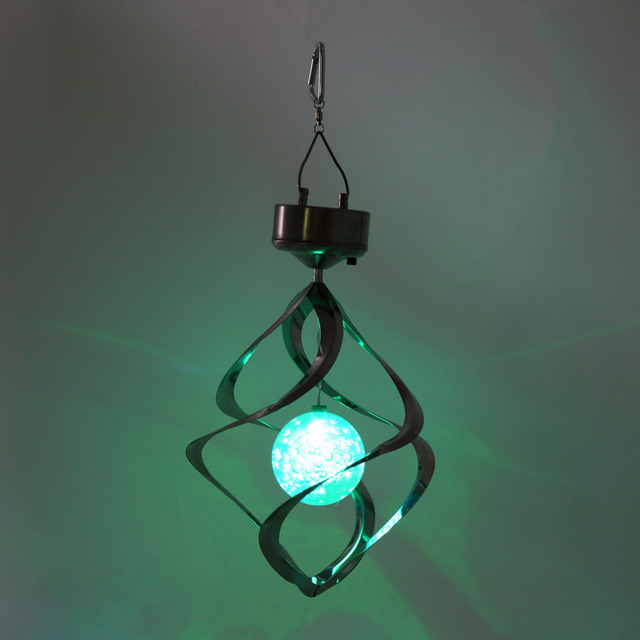 Color Changing Solar Ed Led Wind Chimes Spinner Outdoor Hanging Spiral Garden Light Courtyard Decoration