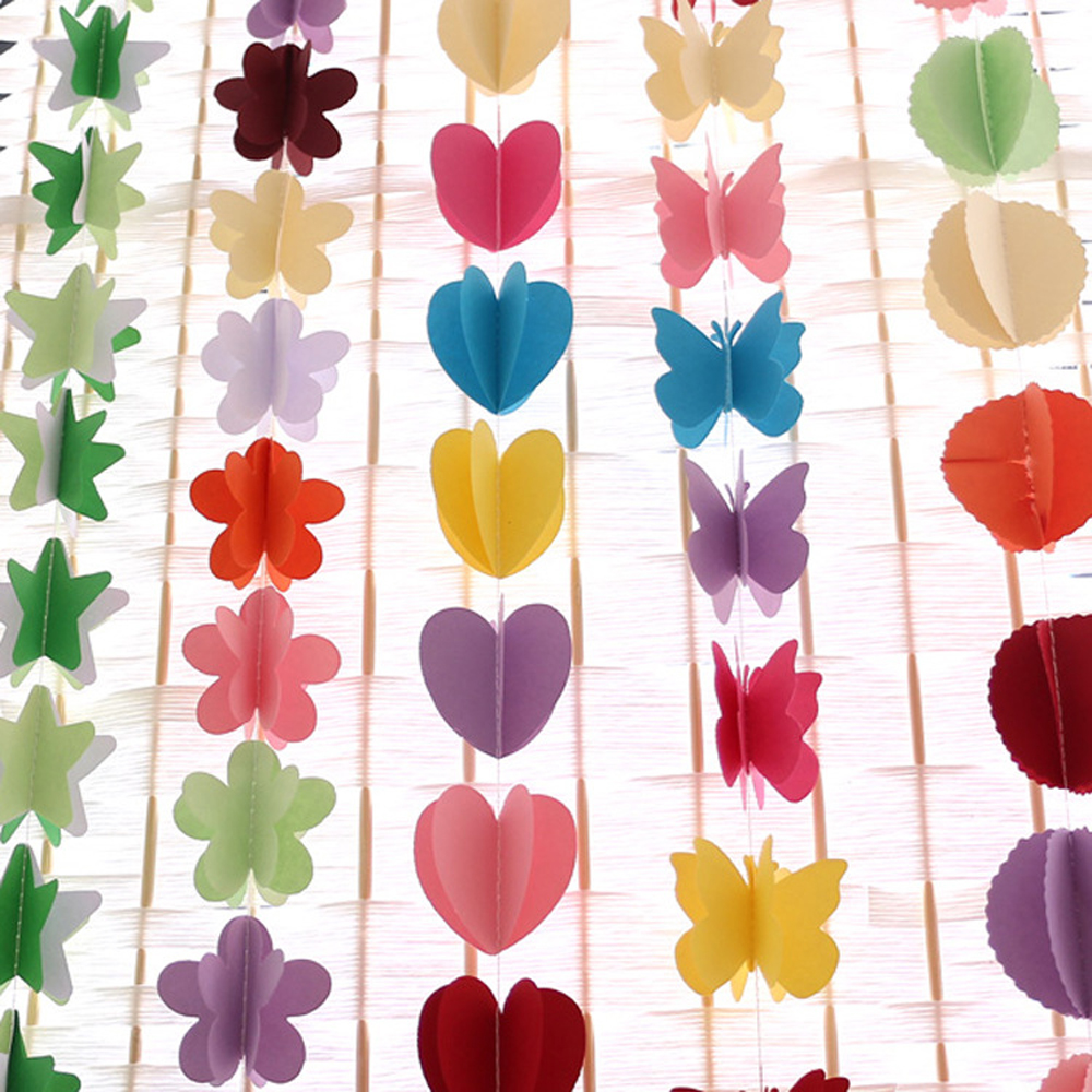 3m 3d hanging paper garland heart star string wedding for Hearts decorations home