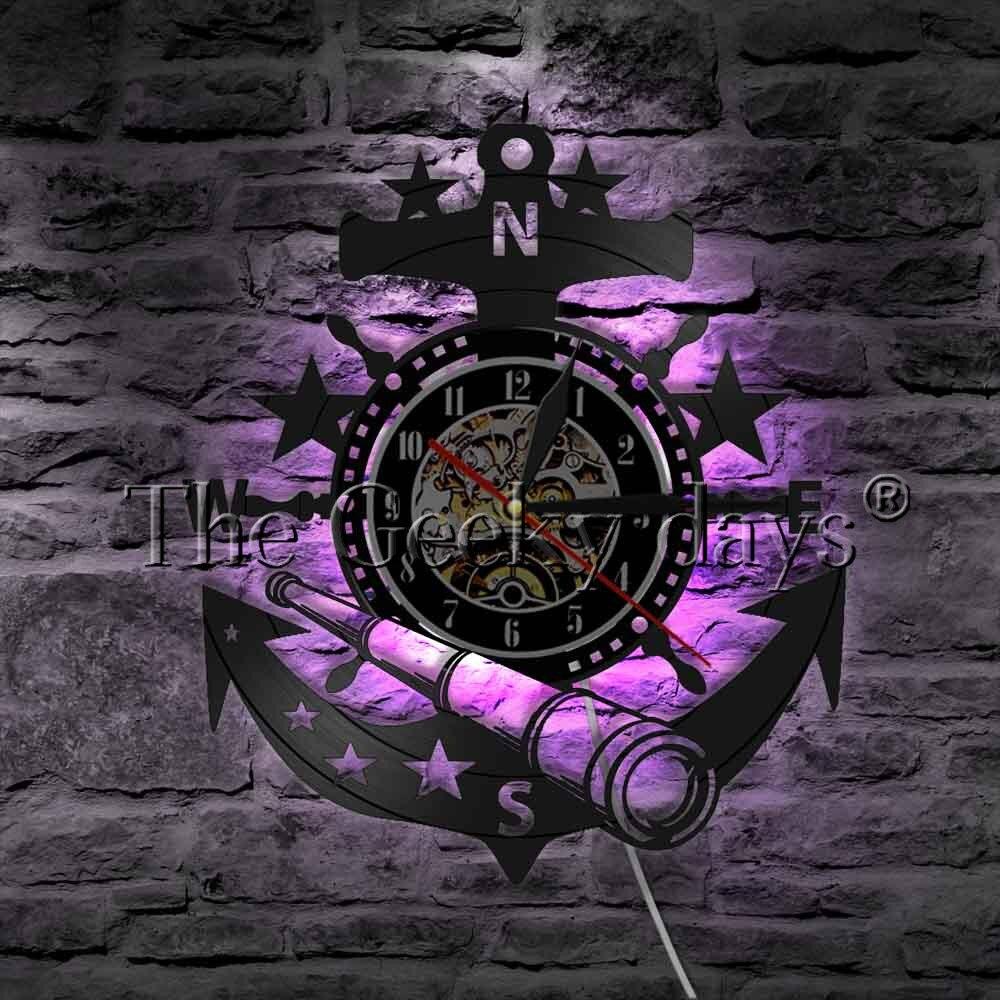 1Piece Marine Nautical Steering Wheel LED Wall Lamp Anchor Ship Wheel Sailors Vinyl Record Wall Clock Decorative Lighting цена