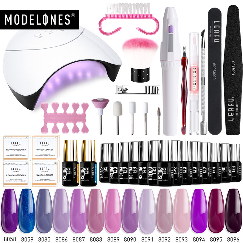 Modelones 36W UV Lamp Nail Art Tools Set Semi Permanent Hybrid Gel Polish 4/6/8/10/14 Colors Gel Lacquer Nail Electric Drill