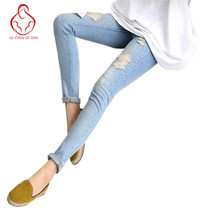 2017 spring new nine-hole soft elastic Maternity Pants Pregnant denim pants feet care of pregnant women belly
