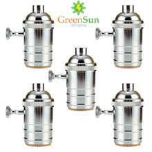 GreenSun 5Pcs Silver E26/E27 Lamp Socket Edison Lamp Holder Industrial Bulb Pendants Light Bases Knob Switch(China)