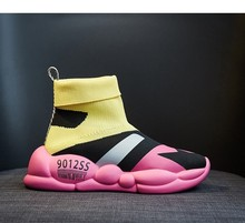 MARDEREE Fashion Style Socks Shoes Women 2019 High-top Sneakers Mix Color Soft Fabric Ventilation Hip-Pop Elastic Shoe