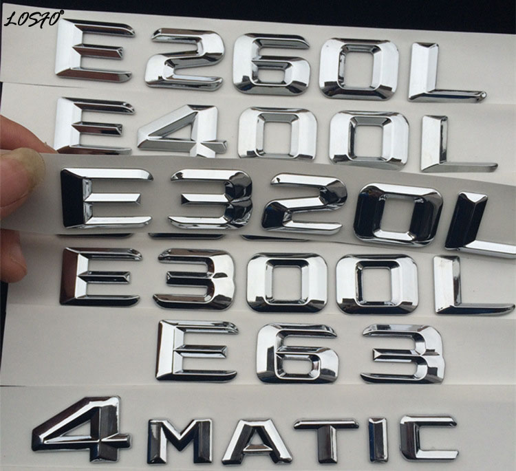 LOSFO 3D car sticker E63S Rear Trunk word Letters Badge Emblem Logo Decoration for Mercedes Benz E Class E260 E300L E320L E400L car styling for mercedes benz g series w460 w461 w463 g230 g300 g350 chrome number letters rear trunk emblem badge sticker