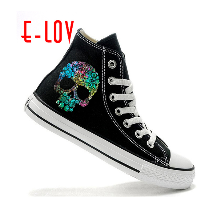 e lov halloween skeleton skull shoes for women 2017 fashion terror monster pattern painted high