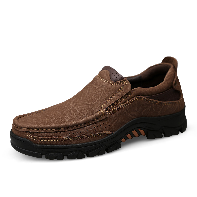 YRRFUOT High Quality Men s Genuine Leather Shoes Summer Luxury Breathable Outdoor Shoes Fashion Design Solid