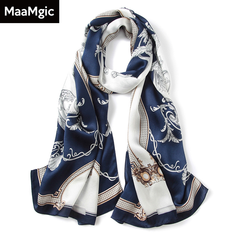 Фото the British new silk scarves spring summer autumn mulberry silk flower long satin towel gifts small shawl