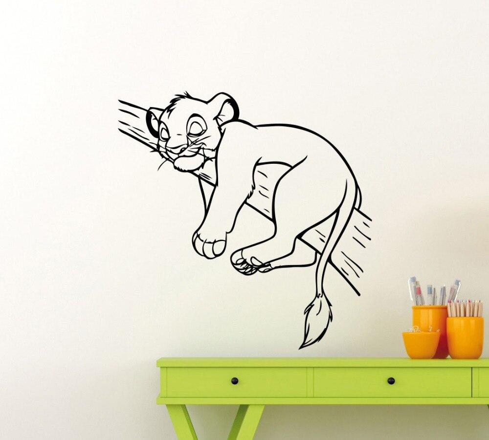 Roi Lion Simba Dormir Sur Une Branche D'arbre Mignon Silhouette Mur Peintures Murales Accueil Enfants Chambre de Bande Dessinée Animale Décor Decal WM-129 écouteurs de