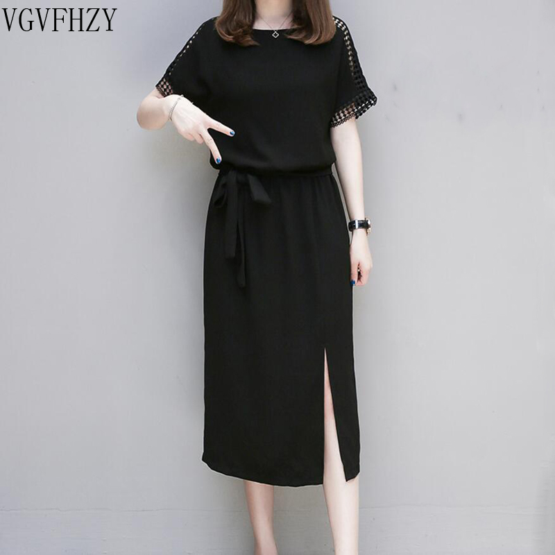 Summer Dresses 4XL Plus Size Women Clothing 2018 Chiffon Dress Party Hollow Short Sleeve Casual Vestido Festa Black Femme dress