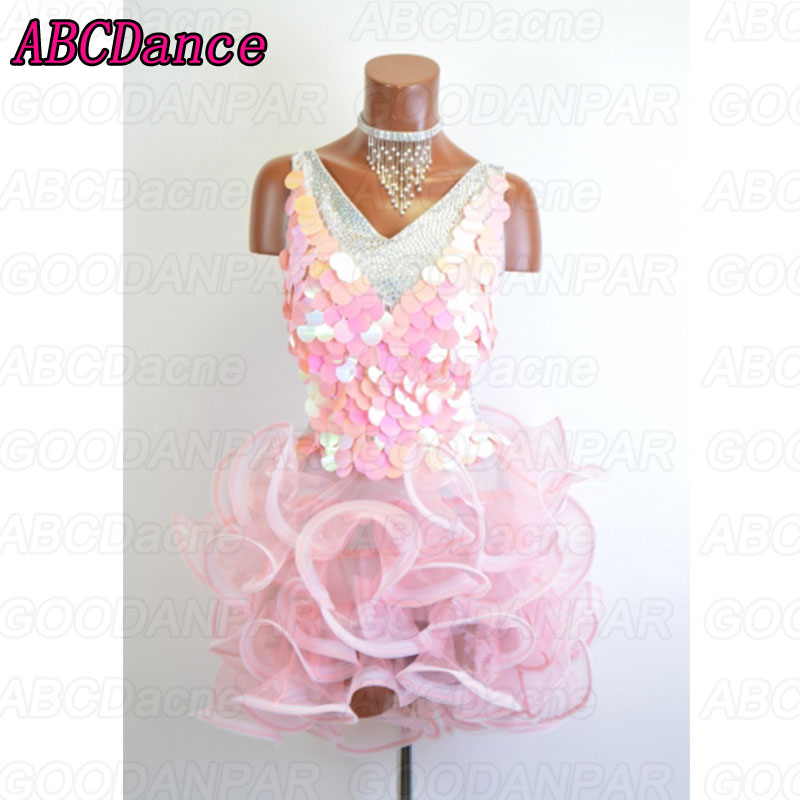latin dance dress women pink sequin latin Short dress Cha Cha Rumba Samba Tango dresses for dancing