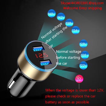 New Car Accessories 3.1A Dual USB professional Car Charger 2 Port LCD Display 12-24V Cigarette Socket Lighter n# dropship