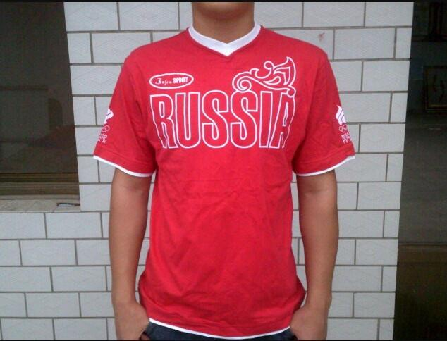 Mens Sport Russian Olympic Team Cotton T-shirt Forward Russia Male For Men Summer Red Shirt Sports Cycling Colth