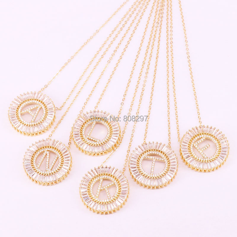6Pcs New fashion jewelry chic micro pave cz crystal Letter pendants with chain necklace