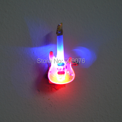 Free shipping 500pcs lot guitar Flashing LED Light Up Badge Brooch Pins Music theme Gifts
