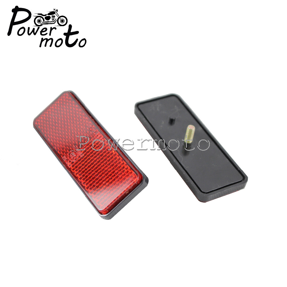 Motorcycle Red Rectangle Reflectors Warning Reflector Bolt On Reflective Plate For Harley Chopper Cafe Racer Custom