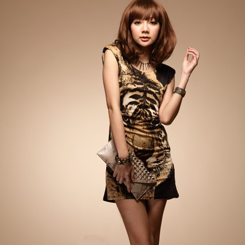 Free Shipping Ladies 2013 Summer Fashion O-Neck Sleeveless tiger long vest Tank Tops