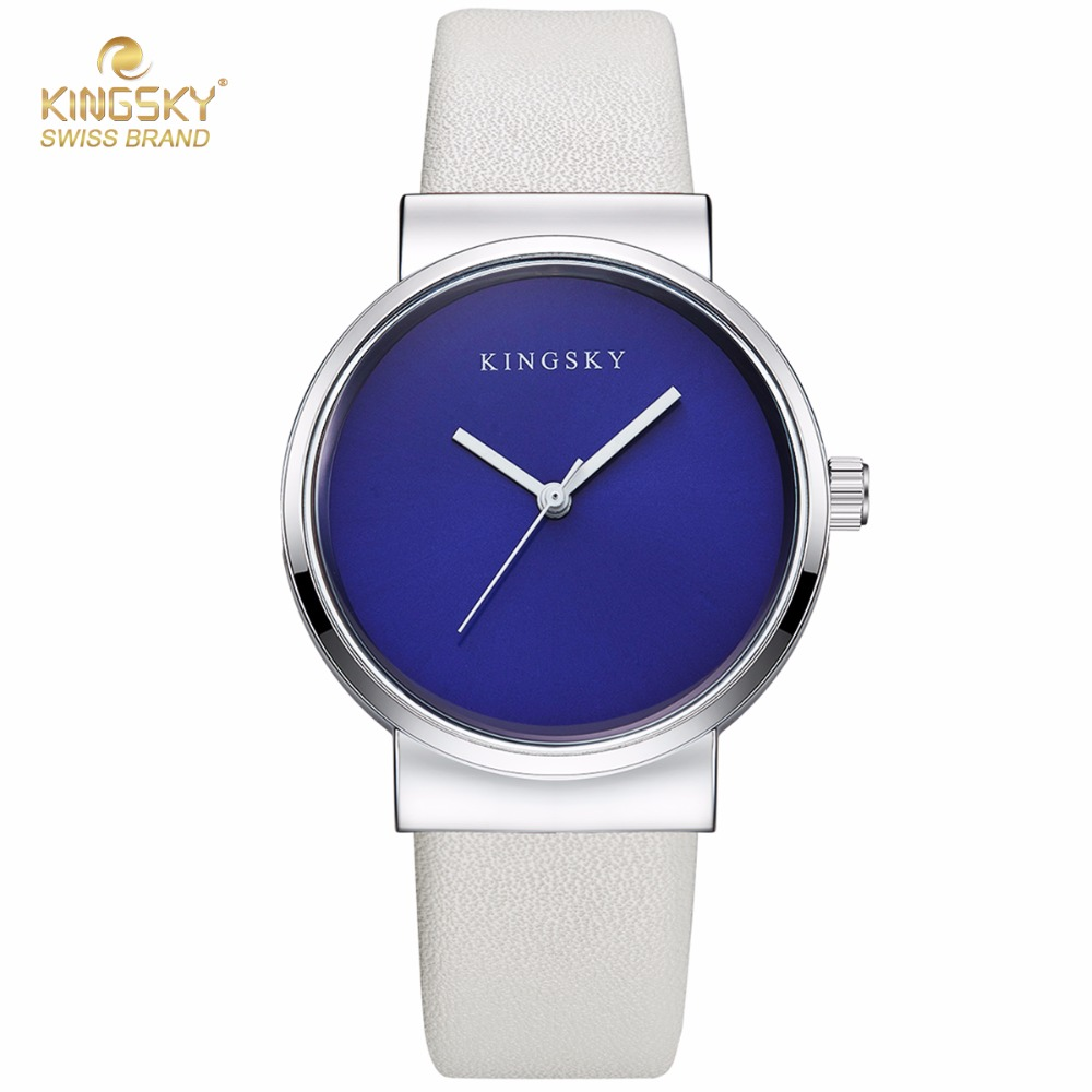Women Watch Luxury Brand KINGSKY Leather Dress Fashion Casual Simple Bracelet Watches Quartz Ladies Wristwatch Relogio Feminino bs brand women luxury fashion rhinestone watches lady shining dress watch square bracelet wristwatch ladies diamond quartz watch