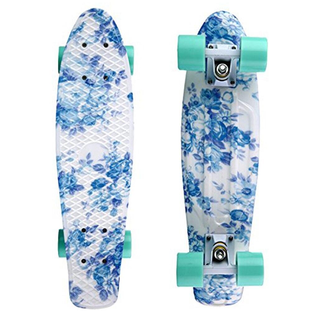 """Prix pour 22 """"X 6"""" Planches À Roulettes Rétro Standard Skate Board Mini Cruiser Longboard Floral Graphique pour Filles Prêt à Rouler"""