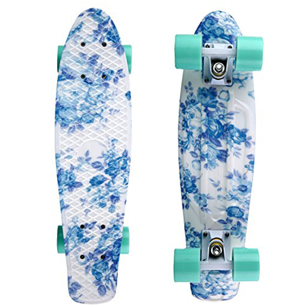 "22"" X 6"" Skateboards Retro Standard Skate Board Mini Cruiser Longboard Floral Graphic for Girls Ready to Ride"