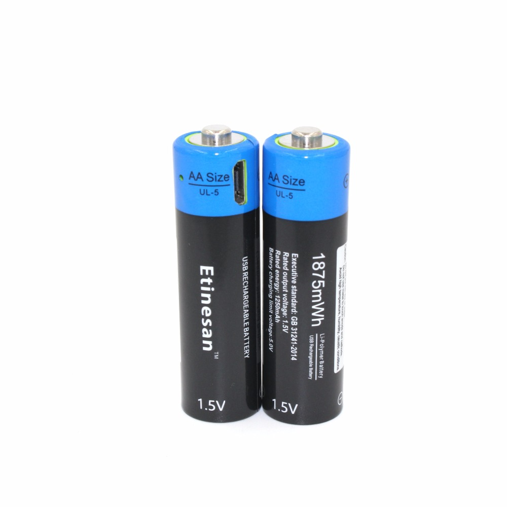 2pcs lot etinesan 1 5v aa 1875mwh li polymer rechargeable lithium battery micro usb for. Black Bedroom Furniture Sets. Home Design Ideas
