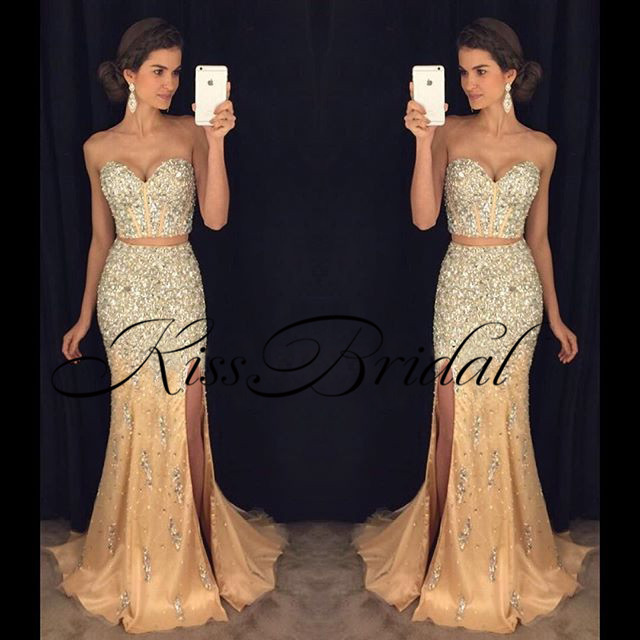 8b3c9faab88f Bling Bling New Mermaid Prom Dresses 2019 Sweetheart Neck Off the Shoulder  Floor Length 2 Pieces