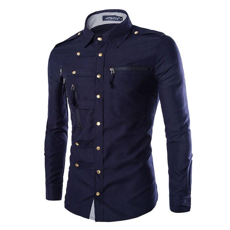 new2017 мода осень камиза masculina для мужчин для отдыха с длинными рукавами рубашки для мальчиков пряжки мульти карман на молнии тонкий Fit мужская одежда рубашки для мальчиков