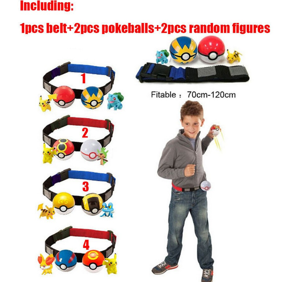 Pokemon Pikachu Cosplay Kids Adjustable Poke Ball Belt Birthday Gift Clip n Carry Pretend Play Game