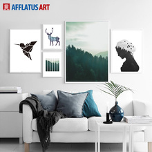 Geometric Bird Girl Forest Landscape Wall Art Canvas Painting Nordic Posters And Prints Pictures For Living Room Home Decor