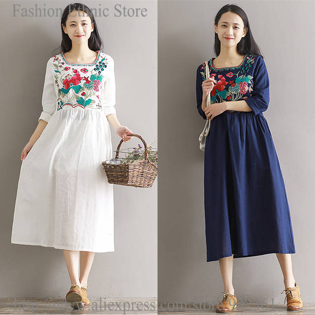 Online Shop Vintage Mexican Ethnic Style Floral Embroidery boho Women Dress  Loose Long Dresses Casual white shirt Dress female Tops vestidos  05889d2ed1c9