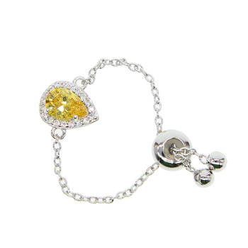 silver color tear drop pear shape CZ adjust delicate chain fashion women girl adjust dainty minimal cz ring