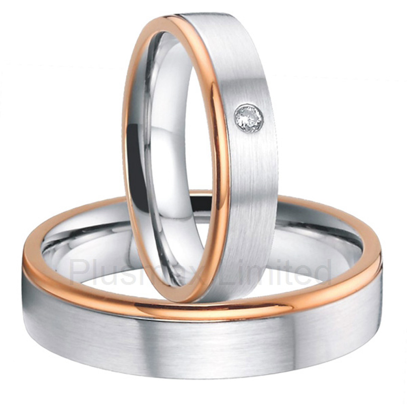 купить China Manufacturer high quality rose gold color custom titanium jewelry wedding rings men and women недорого